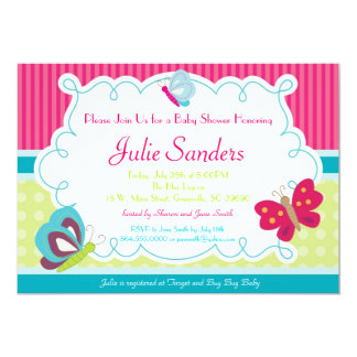 "Butterfly Baby Shower Invitation, Butterflies 5"" X 7"" Invitation Card"