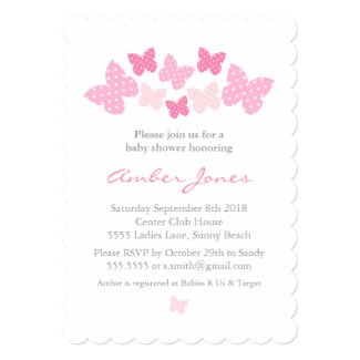 Pink Butterfly Baby Shower Invitation Templates for Girl