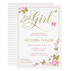 Butterfly Baby Shower Invitation, Pink, Gold Invitation