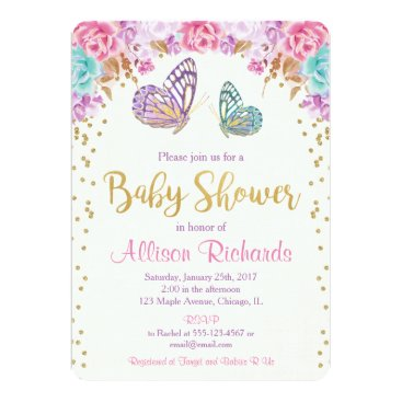 Toddler & Baby themed Butterfly baby shower invitation, pink purple gold card
