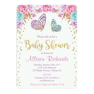 Purple gold baby shower invitations zazzle butterfly baby shower invitation pink purple gold invitation filmwisefo