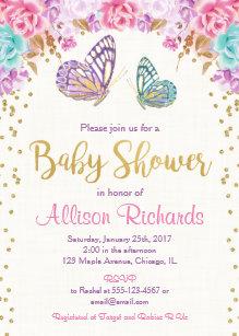 Erfly Baby Shower Invitation Pink Purple Gold