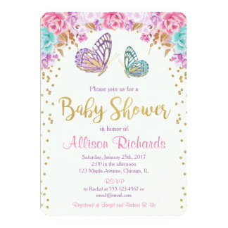Butterfly baby shower invitation, pink purple gold invitation