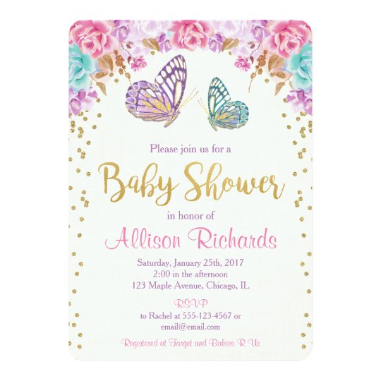 Butterfly Baby Shower Invites: Butterfly Baby Shower Invitation, Pink Purple Gold