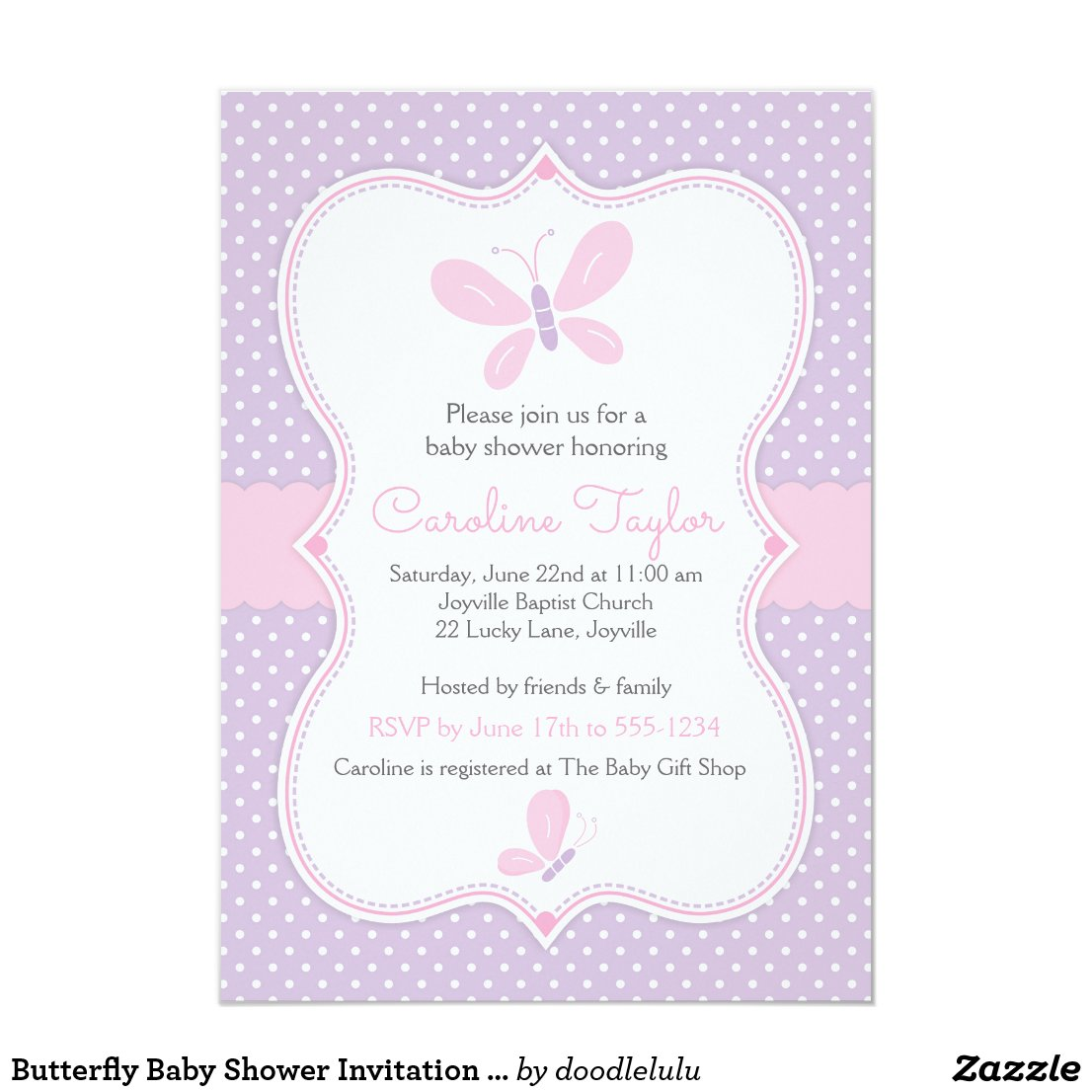 Butterfly Baby Shower Invitation purple pink