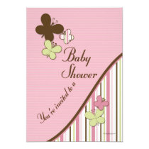"""Butterfly Baby Shower Invitation Template 5"""" X 7"""" Invitation Card"""