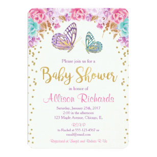 21e6f2d31 Butterfly baby shower, pink purple gold girl invitation