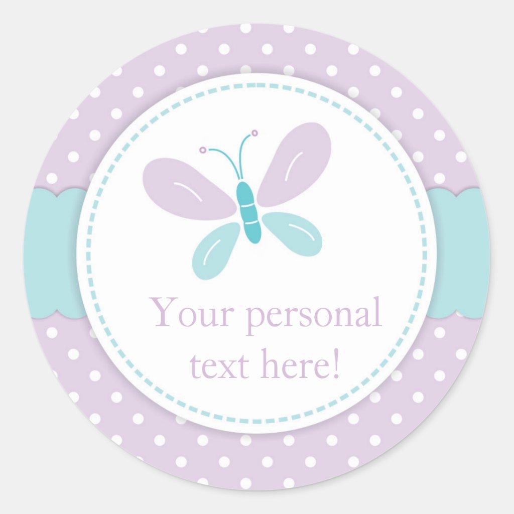 Butterfly Baby Shower Round Sticker purple & blue