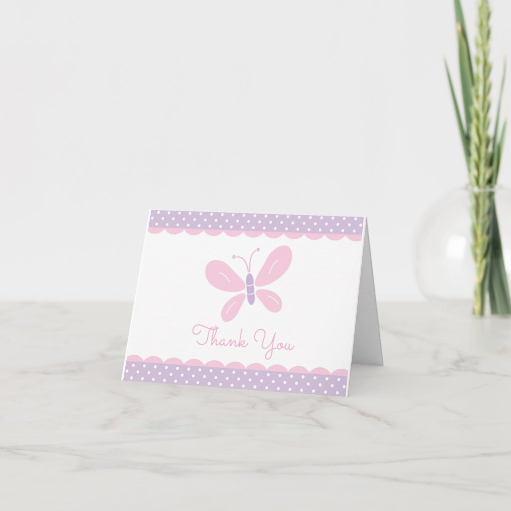 Butterfly Baby Shower Thank You purple pink