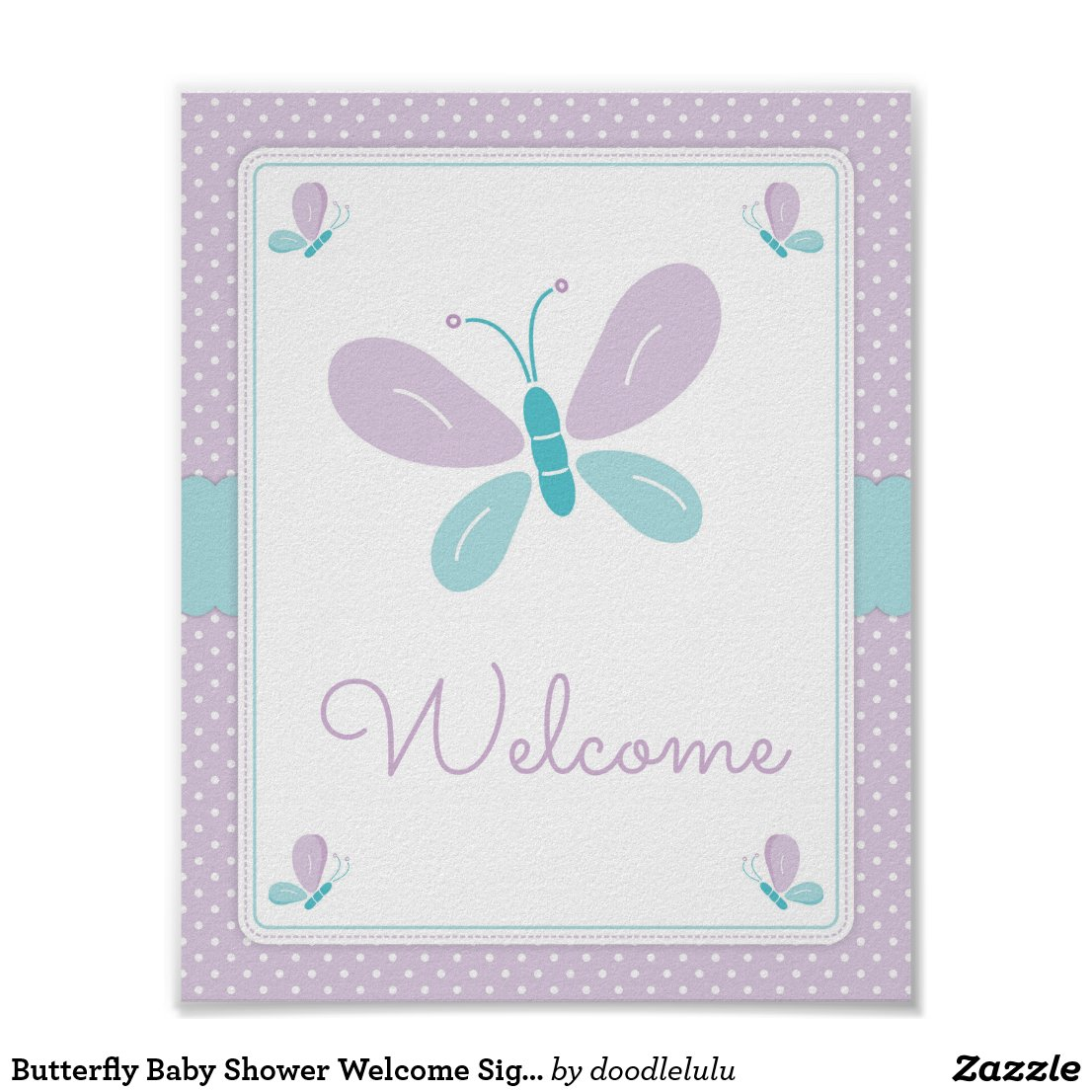 Butterfly Baby Shower Welcome Sign purple and blue
