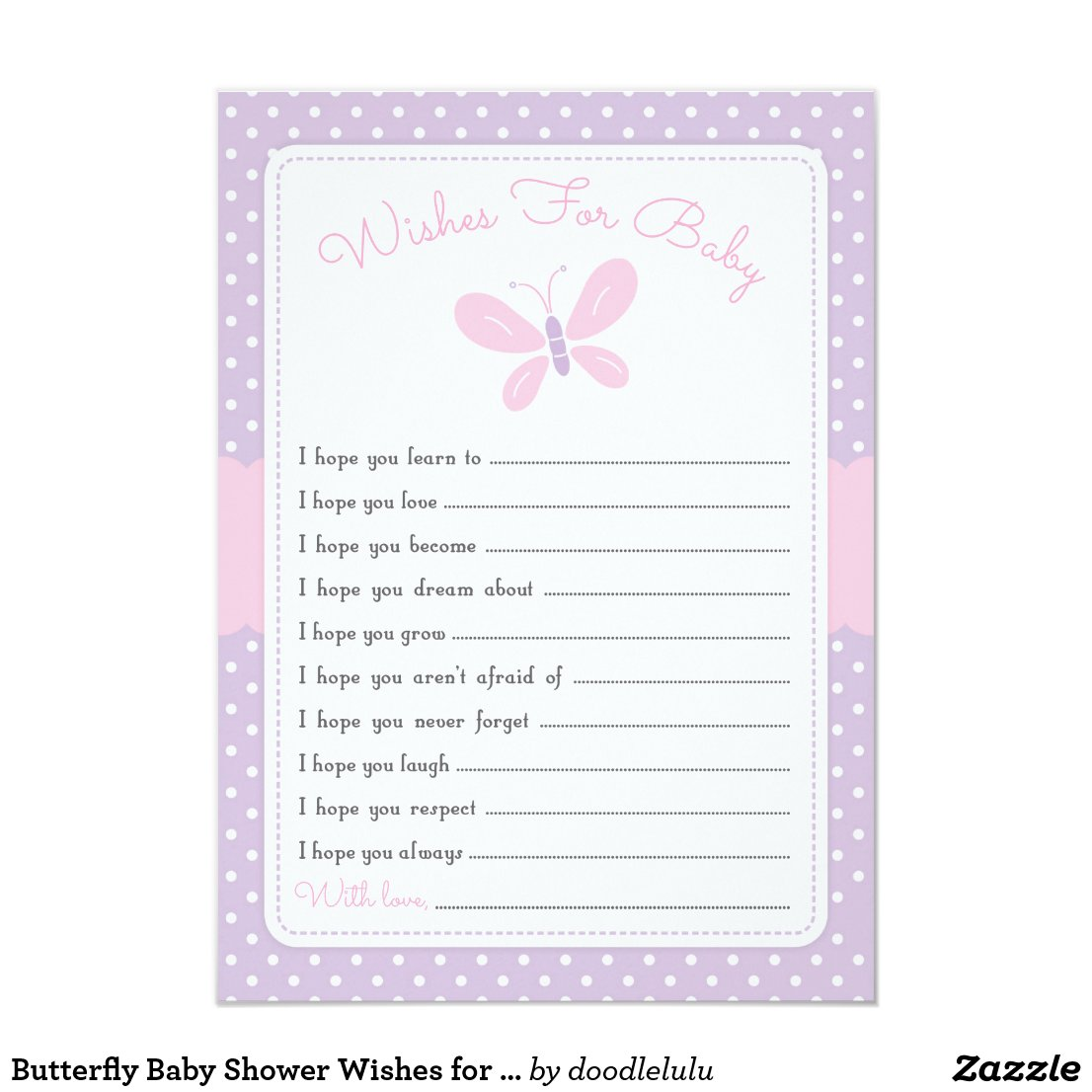 Butterfly Baby Shower Wishes for Baby purple pink Invitation