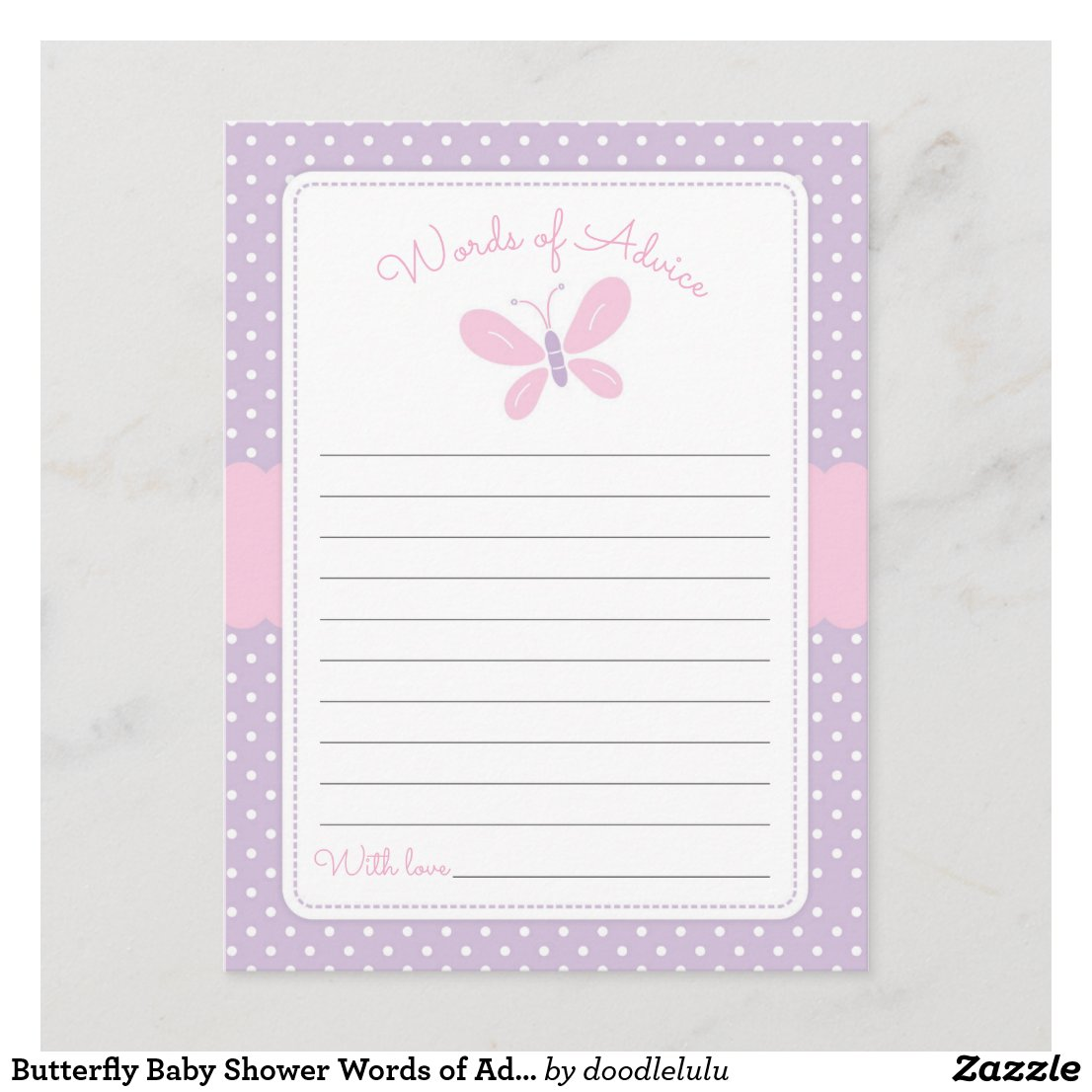 Butterfly Baby Shower Words of Advice purple pink