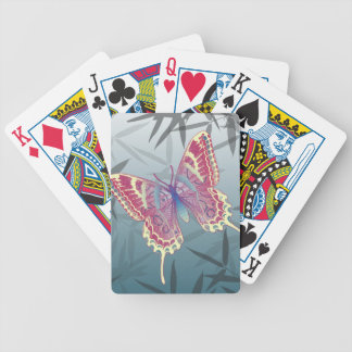 Butterfly Bamboo leaves Blue Unique Pattern Bicycle Playing Cards