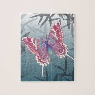 Butterfly Bamboo leaves Blue Unique Pattern Jigsaw Puzzle