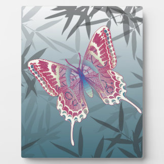 Butterfly Bamboo leaves Blue Unique Pattern Plaque