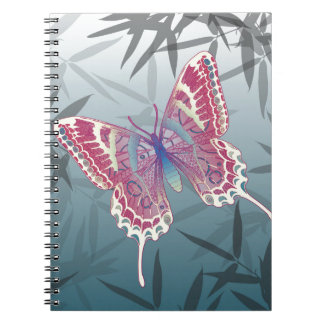 Butterfly Bamboo leaves Blue Unique Pattern Spiral Notebook