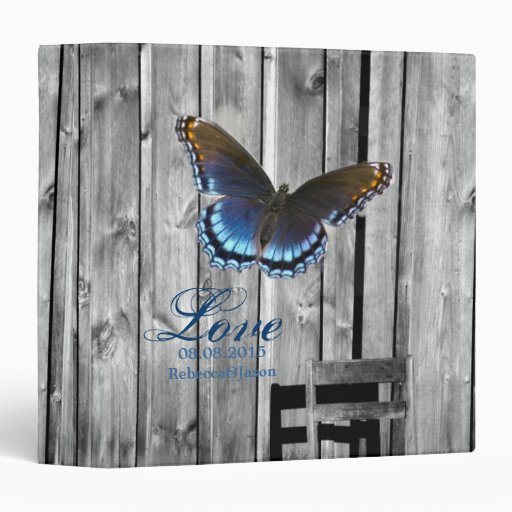 butterfly barnwood western country wedding vinyl binder