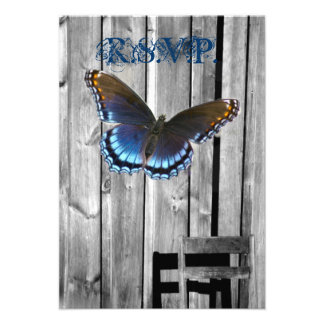 butterfly barnwood western country wedding personalized announcements