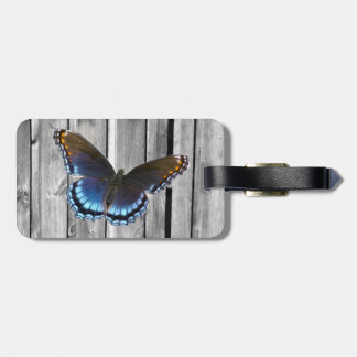 butterfly barnwood western country wedding tag for luggage