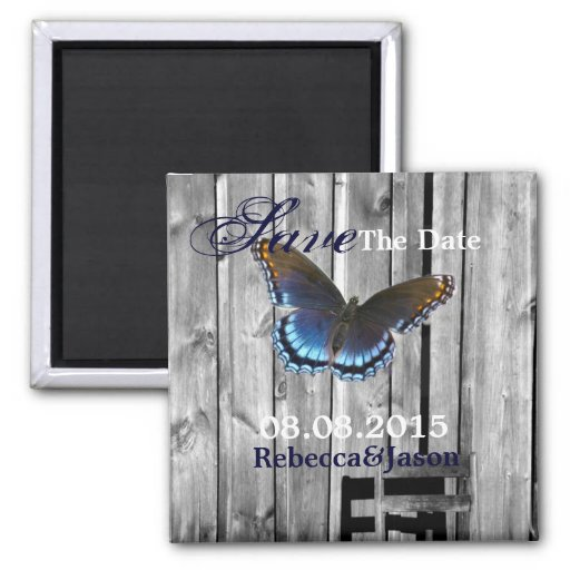 butterfly barnwood western country wedding magnets