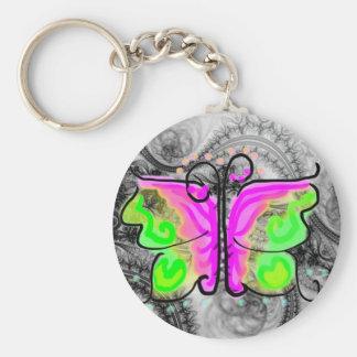 Butterfly Basic Round Button Keychain