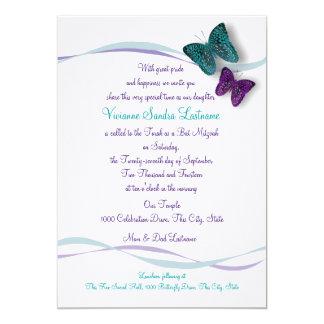 Butterfly Bat Mitzvah Card