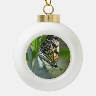 Butterfly Beauty Ceramic Ball Christmas Ornament