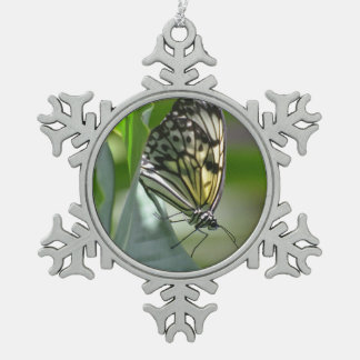 Butterfly Beauty Snowflake Pewter Christmas Ornament