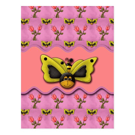 Butterfly Bees and Tulips Postcard