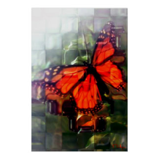 Butterfly behind the window poster