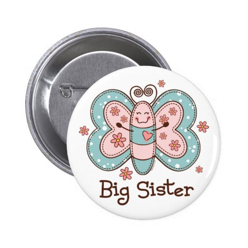 Butterfly Big Sister 2 Inch Round Button