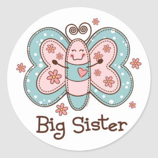 Butterfly Big Sister Classic Round Sticker