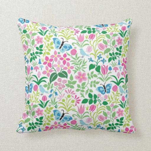 Butterfly, Bird, Flower Bright Pattern Throw Pillow