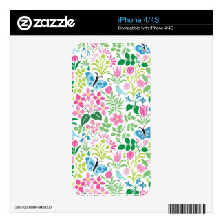 Butterfly, Bird, Flower Bright Pattern Skins For The iPhone 4