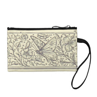 Butterfly Bird & Flower Vintage Drawing Coin Bag