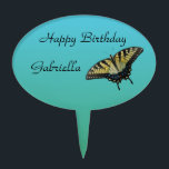 """Butterfly Birthday Cake Topper<br><div class=""""desc"""">This cake topper features a Eastern Tiger Swallowtail butterfly against a green blue background.</div>"""