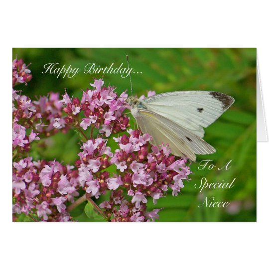 Birthday Flowers For Niece: Butterfly Birthday Card For A Special Niece
