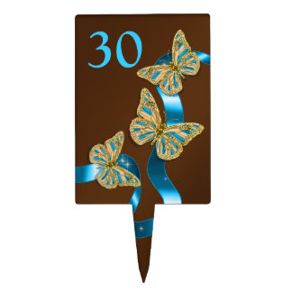 Butterfly birthday elegant ANY AGE Cake Topper