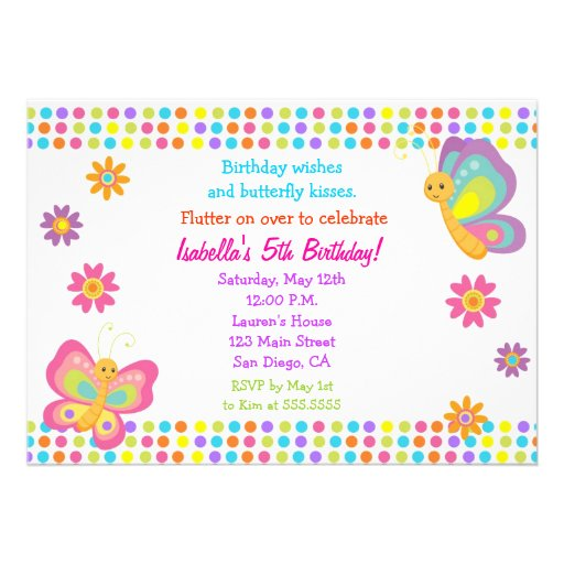 Personalized Butterfly birthday Invitations – Butterfly Birthday Invites