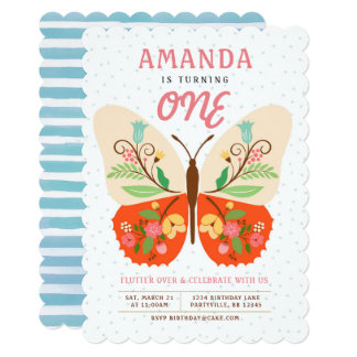 Butterfly Birthday Invitations Announcements Zazzle - Butterfly birthday invitation images