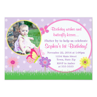 Butterfly Birthday Invitation 5x7 Photo Card