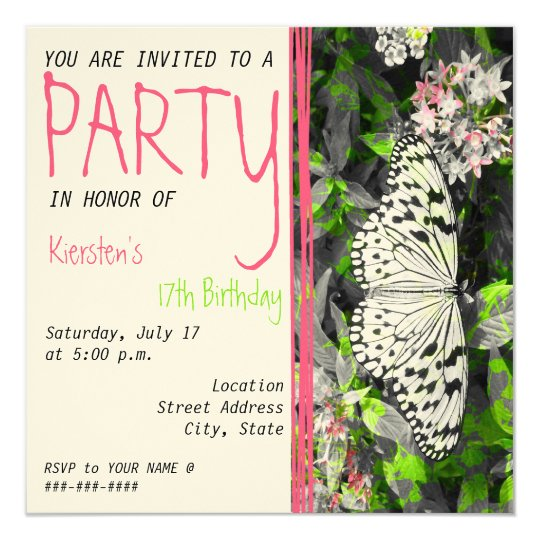 Butterfly Birthday Invitation - Black White Color