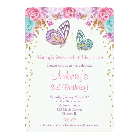 Butterfly Birthday Invitation Pink Purple Gold Card Zazzlecom - Butterfly birthday invitation images