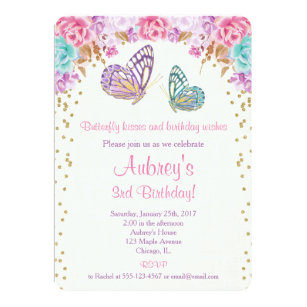 Butterfly Birthday Invitations Announcements Zazzle
