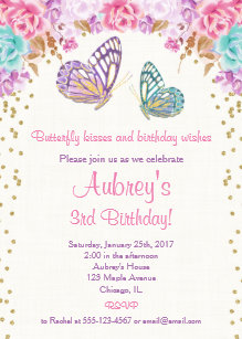Butterfly Birthday Invitation Pink Purple Gold
