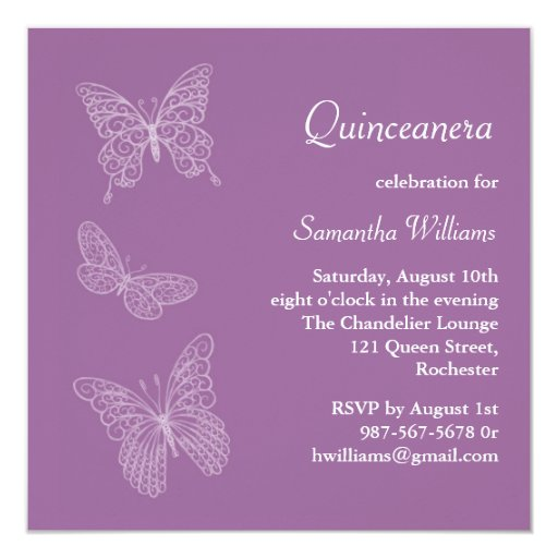 Butterfly Birthday Invitation (purple) | Zazzle
