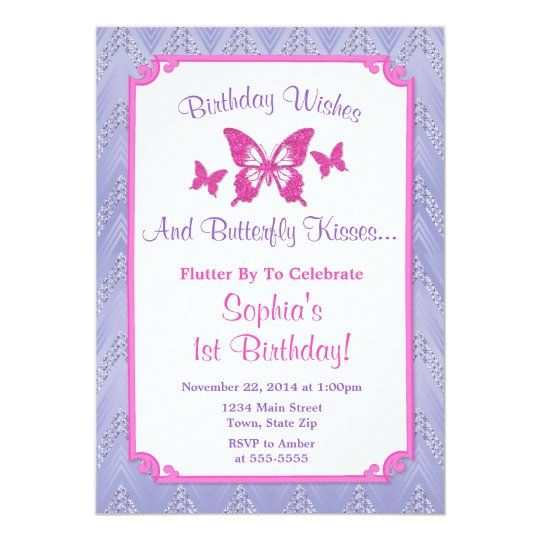 Butterfly Birthday Invitation Purple 1st