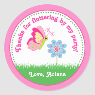 Butterfly Birthday Party Favor Tag Sticker