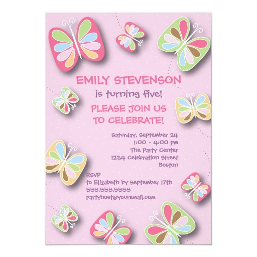"Butterfly Birthday Party Invitation Pink & Purple 5"" X 7"" Invitation Card"