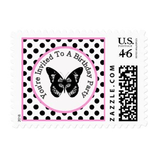 Butterfly Birthday Party Postage zazzle_stamp